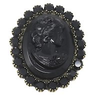 Vintage Art Wear Dimitriadis Designer 3D Black Swarovski Lady Cameo Bronze Brooch Pin