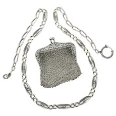 Heavy Niello Fancy Silver Long Chain Necklace with Chatelaine Coin Purse