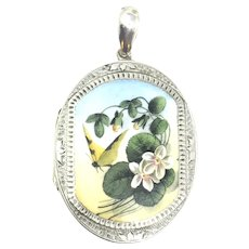 Victorian Butterfly with Forget Me Not Flowers Enameled Sterling Silver Locket Pendant