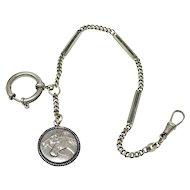 Antique Equestrian Two Horse Heads Horseshoe Silver Nickel Pocket Watch Chain Bracelet