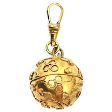 Etruscan Style Yellow Rolled Gold Ball Orb Sphere Charm