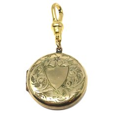 Edwardian Engraved Forget Me Not Shield Rolled Gold Locket