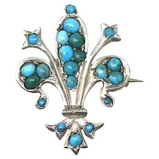 Victorian Pavé Turquoise Fleur De Lis Silver Brooch Pin