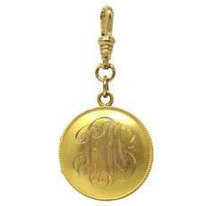 Victorian 14k Gold Monogrammed Round Locket Pendant