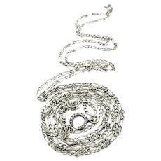 Long Niello 800 Silver Sautoir Muff Guard Chain Necklace