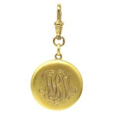 Victorian 14k Gold Monogrammed MBM Round Locket Pendant