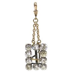 Victorian Faux Diamond Paste Belt Buckle Pendant