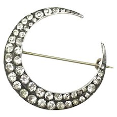 Victorian Sterling Silver Paste Crescent Moon Pin Brooch