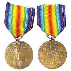 WW1 Belgium Victory Bronze Medal Ribbon Pendant