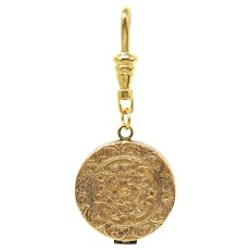 Victorian Engraved Forget Me Not Flowers Rolled Gold Locket Pendant