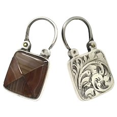 Antique Victorian Scottish Engraved Silver Agate Square Padlock