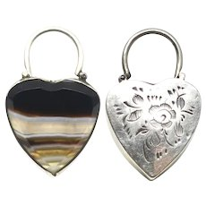 Antique Victorian Scottish Engraved Silver Agate Heart Padlock