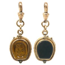 Antique HorseShoe Rolled Gold Bloodstone and Tiger Eye Locket Pendant