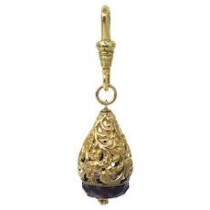 Art Nouveau Teardrop Shape Amethyst Paste Pearl Yellow Rolled Gold Charm