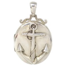 Fabulous Victorian Sterling Silver Anchor Oval Locket Pendant