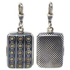 Victorian Niello & Gold Gilt Stars Checkerboard Locket Pendant