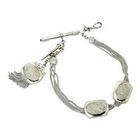 French Albertina Silver Tone Watch Chain Necklace