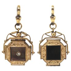 Victorian Rose Rolled Gold Paste with Mother of Pearl and Onyx Spinner Locket