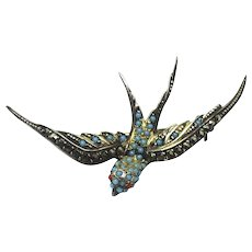 Vintage 835 Silver Swallow Bird Marcasite Turquoise Stones Brooch Pin