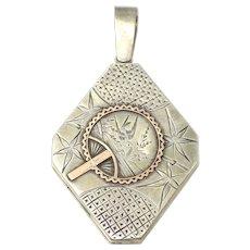 Rare Aesthetic Movement Sterling Silver Rose Gold Gilt Diamond Shape Locket