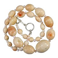 Antique Moonstone Conch Graduated Shell Bead Necklace