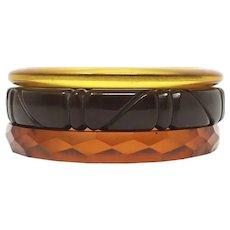 Vintage Faceted & Carved Prystal Chocolate Opaque, Caramel, Apple Juice Bakelite Bangles