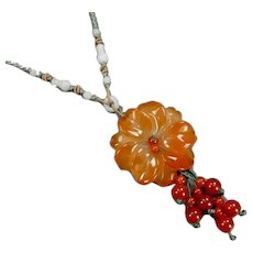 Vintage Carved Asian Carnelian Agate Flower Necklace