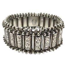 Victorian Registered 1880 Sterling Silver Engraved Bracelet