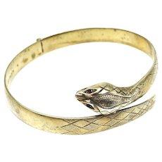Vintage  Snake Serpent Ouroboros Hinged Bangle Bracelet