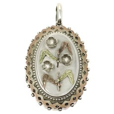 Victorian Sterling Silver & Gold Vermeil 3D Flowers Locket Pendant