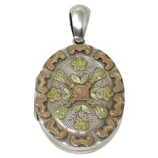 Victorian Tricolor Sterling Silver Rose Yellow Gold Forget-Me-Not Flower Locket Pendant