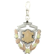 1901 Tri-Color Medal Shield Watch Fob Pendant