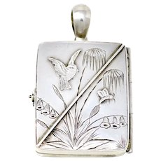 Antique Victorian Aesthetic Movement Engraved Sterling Silver Rectangle Locket