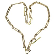 2 Rolled Gold Trombone Link Albert Watch Chain Necklaces