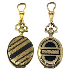 Victorian 9ct Yellow Rolled Gold & Black Enamel Engrave Mourning Locket