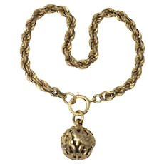 Antique 12k Rose Gold Filled Rope Chain with Filigree Charm Bracelet