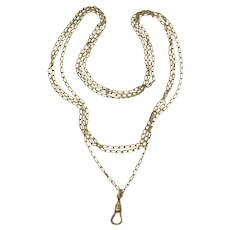 Antique 10k Yellow Gold Filled Cable Links Sautoir Muff Guard Chain Necklace