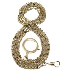 Antique 9ct Yellow & Rose Gold Fill Chatelaine Sautoir Muff Guard Cable Chain Necklace