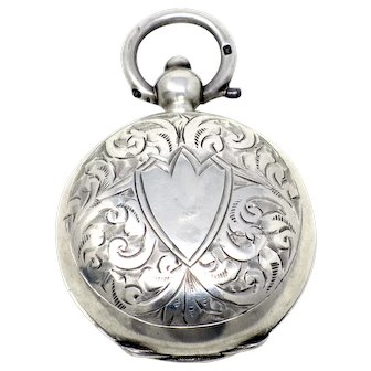 Antique Victorian Engraved Sterling Silver English Sovereign Coin Case Locket Pendant