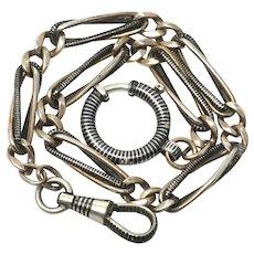 Victorian Niello 800 Silver Rose Gold Gilt Fancy Chain Bracelet