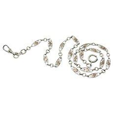 Reversible French Silver & Rose Gold Vermeil Fancy Link Collar Necklace or Bracelet