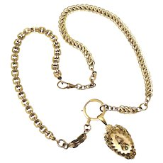 Antique Victorian Gold Fill Watch Chains Necklace with Seed Pearl Locket