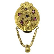 Antique Victorian Snake Gold Gilt Mechanical Posy Holder Pendant Necklace