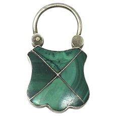 Victorian Scottish Sterling Silver Malachite Padlock Pendant