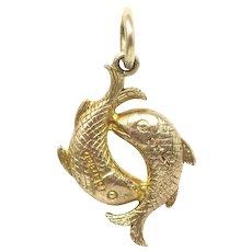 Vintage 1958 Solid 9ct 9k Gold 3D Pisces Fish Zodiac Charm