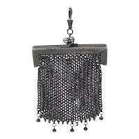French Mourning Gunmetal Mesh Coin Purse Chatelaine Chainmaille Pendant