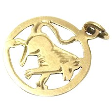 Vintage 1962 Solid 9ct 9k Yellow Gold Leo Lion Zodiac Disc Charm