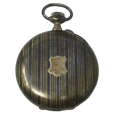 Large Antique SOLEX Niello Chatelaine Pocket Watch