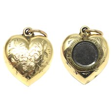 Antique Victorian 9ct Gold Plated Forget Me Not Heart Charm with Locket