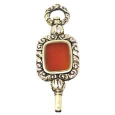 Antique Victorian Carnelian Gold Cased Watch Key Fob Pendant